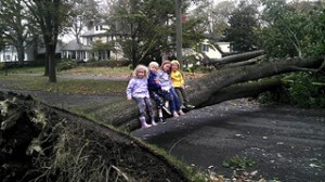 Hurricane Sandy Aftermath in Pelham - Kids On Downed Tree