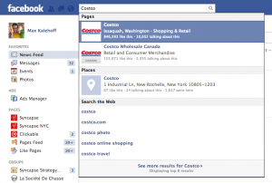 Facebook Search Costco