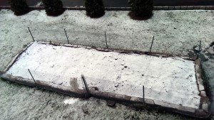Garden Bed Prepped, With Snow - April 10, 2014