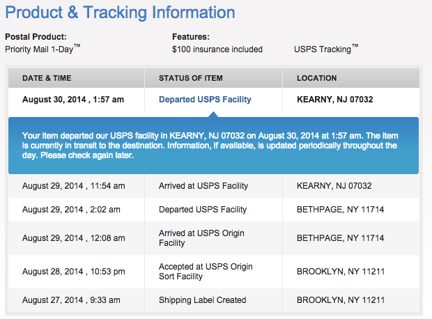 USPS Delivery Tracking